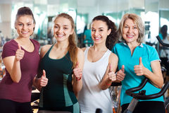 Females in modern fitness club Royalty Free Stock Photo