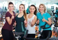 Females in modern fitness club