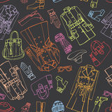 Females outerwear,accessories seamless pattern. Stock Photos