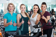 Females posing in aerobic class for women. Active females posing in aerobic class for women Stock Images