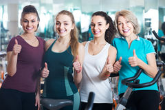 Females posing in aerobic class for women Royalty Free Stock Photography