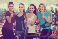 Females posing in aerobic class for women Royalty Free Stock Photos