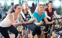 Females riding stationary bicycles Royalty Free Stock Photography
