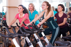 Females riding stationary bicycles Royalty Free Stock Images