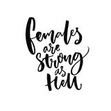 Females are strong as hell. Inspirational feminism quote, handwritten vector saying. Feminist slogan. stock illustration