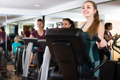 Females training on elliptical trainers in fitness club. Happy females training on elliptical trainers in fitness club Stock Images