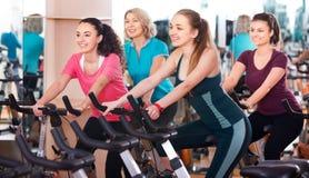 Females training on exercise bikes royalty free stock image