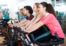 Females training on exercise bikes. Positive females of different age training on the exercise bikes together in the fitness club Stock Photos