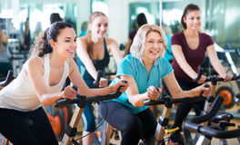 Females training on exercise bikes. Positive happy females of different age training on a exercise bikes together in a fitness club Royalty Free Stock Photo