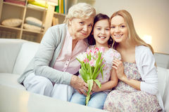 Females with tulips Stock Image