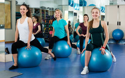 Females working out with aerobic ball Stock Photo