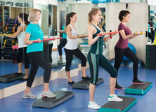 Females working out on aerobic step platform Stock Photography