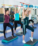 Females working out on aerobic step platform in modern gym Royalty Free Stock Photography