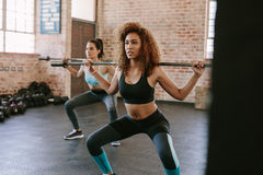 Females working out in gym with barbell Stock Images