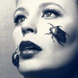 Femalgezicht met insecten stock afbeelding