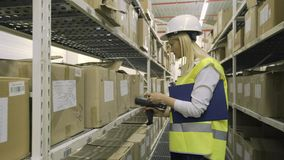 Femalr warehouse worker checking cargo on shelves