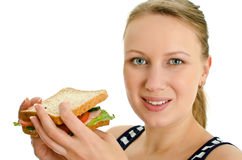Femelle attirante avec le sandwich Photographie stock libre de droits