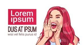 Femelle attirante de beau de femme de publicité concept criard d'annonce avec de longs cheveux rouges au-dessus du fond blanc illustration stock