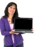 Femelle avec l'ordinateur portatif Images stock