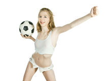 Femelle avec la bille de football sur le fond blanc Photo libre de droits