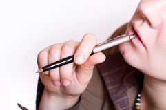 Femelle avec le crayon lecteur Photos libres de droits