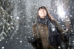 Femelle dans la neige Photographie stock libre de droits