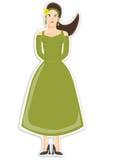 Femelle dans la robe verte Image libre de droits