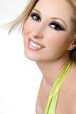 Femelle de sourire avec les yeux excessifs image libre de droits