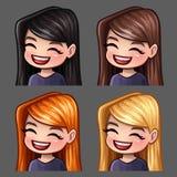 Femelle de sourire d'icônes d'émotion avec de longs poils pour les réseaux et les autocollants sociaux illustration stock