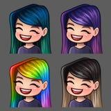 Femelle de sourire d'icônes d'émotion avec de longs poils pour les réseaux et les autocollants sociaux illustration libre de droits