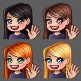Femelle de sourire d'icônes d'émotion salut avec de longs poils pour les réseaux et les autocollants sociaux illustration stock