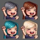 Femelle heureuse de sourire d'icônes d'émotion avec de longs poils pour les réseaux et les autocollants sociaux illustration de vecteur