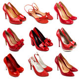 Femelle rouge shoes-3 photos stock