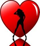 Femelle sexy au coeur illustration de vecteur