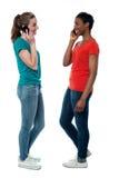 Femelles à la mode parlant au-dessus du téléphone portable Image libre de droits