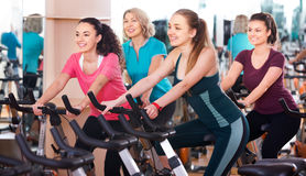 Femelles s'exerçant sur des vélos d'exercice Image libre de droits