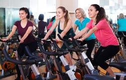 Femelles s'exerçant sur des vélos d'exercice Photos libres de droits