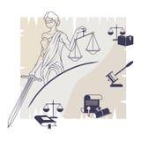 Femida - dame van rechtvaardigheid DameLawyer embleem royalty-vrije illustratie