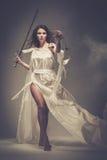 Femida, diosa de la justicia Imágenes de archivo libres de regalías