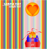 Feminine background. Heart and giftboxes -  colorful feminine design Stock Photo