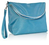 Feminine beautician to store cosmetics. Purse for women made of. Women`s beautician to store cosmetics. Purse for women made of turquoise material with silver Stock Photos