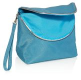 Feminine beautician to store cosmetics. Purse for women made of. Women`s beautician to store cosmetics. Purse for women made of turquoise material with silver Royalty Free Stock Images