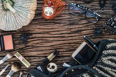 Feminine beauty accessories cosmetic fashion flat lay on grunge royalty free stock image