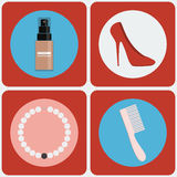 Feminine Beauty colorful icon set Royalty Free Stock Photo