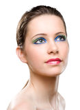 Feminine beauty colorful makeup. stock photo