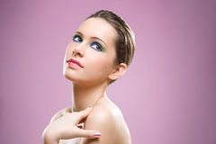 Feminine beauty colorful  makeup. Royalty Free Stock Image