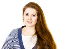 Young woman with brown hair wearing dressing gown. Feminine beauty concept. Portrait of beautiful young woman with long brown hair wearing dressing gown Stock Photos
