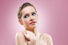Feminine brunette makeup beauty. Stock Images