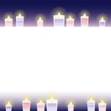 Feminine candle frame. With watercolor paint touch vector illustration