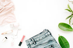 Feminine clothes and accessories Stock Image